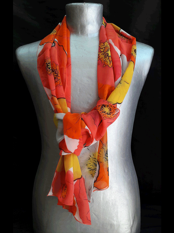 Foulard Pavoto en soie Rouge Orange