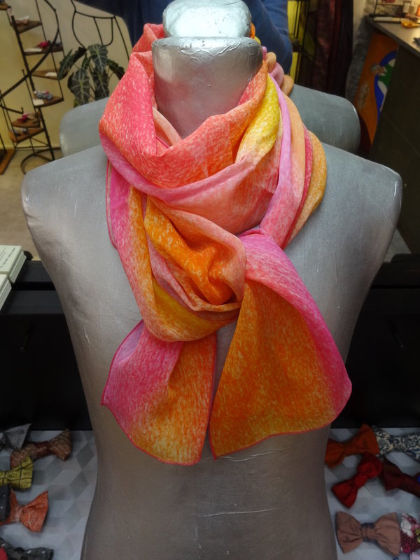 Foulard Orange et Rose Bariolé en soie